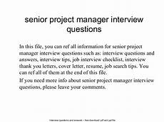 It Project Manager Interview Questions Senior Project Manager Interview Questions