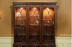 traditional inlaid mahogany china cabinet hutch breakfront