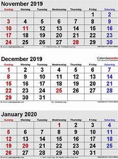 Calendar Month November 2020 December 2019 Calendar Templates For Word Excel And Pdf