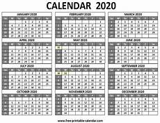 Printable 12 Month Calendar On One Page Printable 2020 Calendar Free Printable Calendar Com
