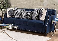 280011 cornelia navy nailhead trim sofa w pillows