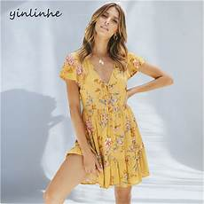 sleeve summer dresses for yellow yinlinhe yellow floral summer dress sleeve 2018 v