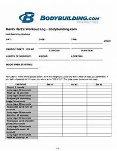 Bodybuilding Printable Logs Fillable Online Kevin Hart S Workout Log Bodybuilding