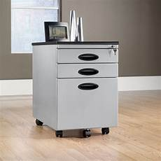 three drawer transitional mobile file cabinet in silver