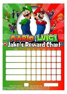 Mario Chart Personalised Super Mario And Luigi Reward Chart Pen With