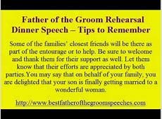 Father of the Groom Rehearsal Dinner Speech    Tips to