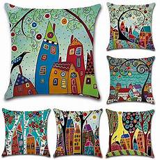huifengs linen throw cushion pillow covers square
