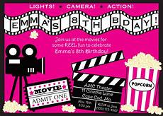 Movie Themed Invitation Template Free Movie Birthday Invitation Girl By Anchorbluedesign On Etsy