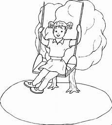 Gratis Malvorlagen Kinder Gratis Maedchen Auf Schaukel Ausmalbild Malvorlage Kinder
