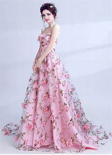beautiful pink flower floral tulle prom dress beautiful