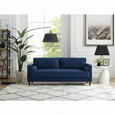 mid century modern navy blue sofa rc willey