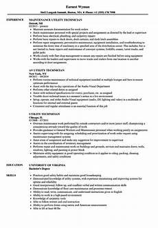 Utility Resume Utility Technician Resume Samples Velvet Jobs