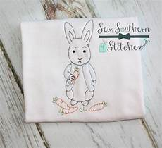 vintage sketch stitched boy bunny embroidery design