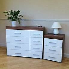 white walnut 4 4 drawer chest 3 draw bedside cabinet