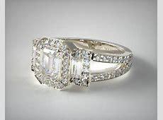Emerald Three Stone Engagement Ring   Platinum   James