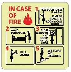 In Case Of Fire Evacuation Instructions Glow In The Dark Sign