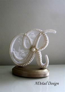 wedding cake topper custom letter r vintage pearls white