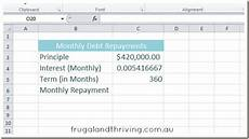 P I Calculator Calculate Loan Repayments In Excel Using The Pmt Function
