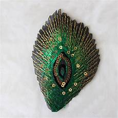 peacock applique 10pcs embroidered green sequins peacock feathers patch