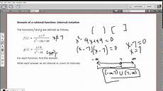 Function Domain Domain Of A Rational Function Interval Notation Youtube