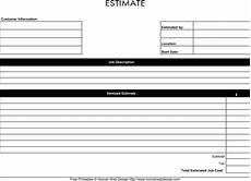 Printable Estimate Form Download Blank Estimate Template For Free Formtemplate