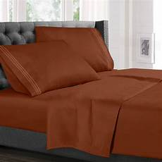 split king size bed sheets set rust orange luxury bedding