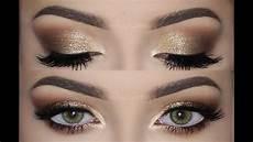 makeup gold soft smokey gold glitter make up tutorial