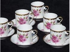 vintage Hackefors Sweden espresso set, pink rose demitasse