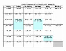 College Class Schedule Template College Schedule Template 12 Free Word Excel Pdf