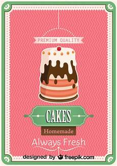 Cake Poster Design Free Vector Retro Homemade Cake Poster Design