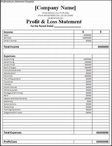 Ytd P L Template Profit And Loss Statement Template Free Word Templates
