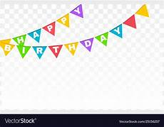 Colorful Happy Birthday Banner Happy Birthday Banner With Colorful Flags Vector Image