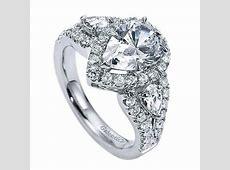 14K White Gold Pear Shaped 3 Stone Halo Diamond Engagement