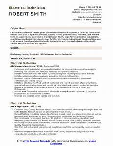 Resume Of Electrical Technician Electrical Technician Resume Samples Qwikresume
