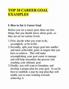 Sample Career Goals And Objectives Top 10 Career Goal Examples