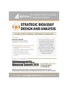 Bioassay Design Guideline On Potency Testing Of Cell Based Immunotherapy