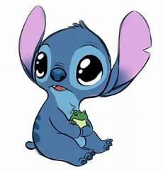 baby stitch holding a baby frog