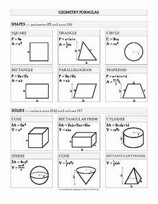 Geometric Formula Geometry Formulas All Gathered On One Easy Cheat Sheet