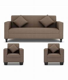 westido 5 seater sofa set in light brown upholstery with