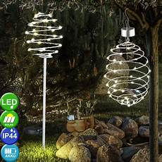 Spiral Solar Lights 2x Led Solar Spiral Outdoor Hanging Lamps Stainless Steel