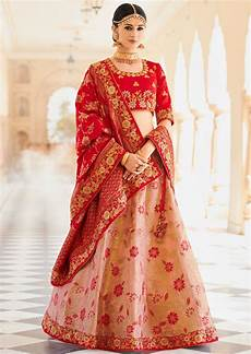buy peach and red banarasi wedding lehenga in uk usa and