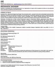 Mechanical Resume Samples For Freshers Latest Resume Format Mechanical Engineer Resume For Fresher
