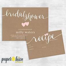 rustic bridal shower invitation and recipe card set kraft