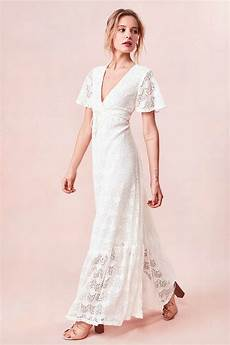 sleeve white maxi dress lyst kimchi blue lace flutter sleeve maxi dress in white