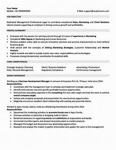 Sales Experience Resume Sample For 5 Years Experience In Marketing Marketing Resume
