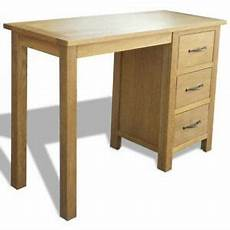vidaxl solid oak wood desk with 3 drawers furniture
