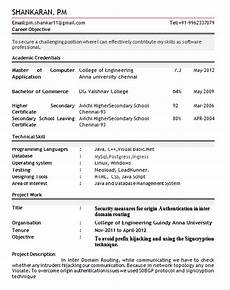 Attractive Resume Format For Freshers Resume Format For Freshers