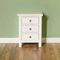 cornish white painted 3 drawer bedside table roseland