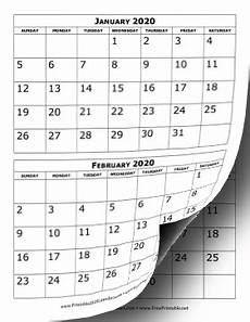 Two Month Calendar 2020 Printable 2020 Calendar Two Months Per Page