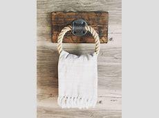 Rustic rope towel holder on wood, industrial small rope